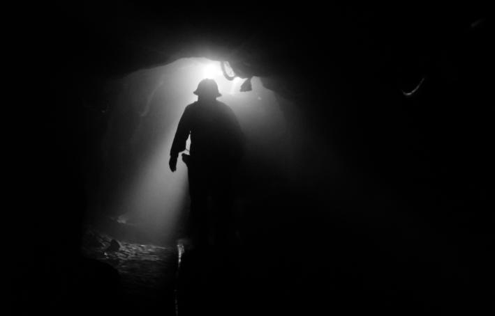 Miner at work in the silver mines of Cerro Rico