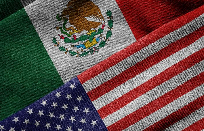 Flags of USA and Mexico