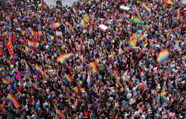 People in Taksim Square for LGBT pride parade in Istanbul, Turkey