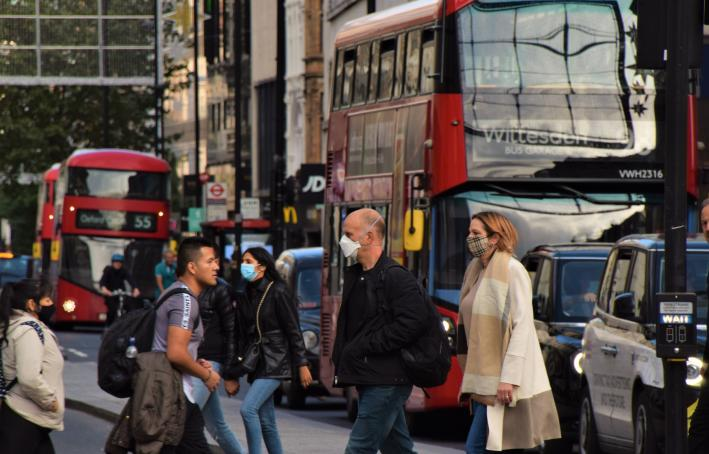 People wearing face masks on Oxford Street, London