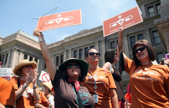 Abortion-rights activists in Austin, Texas, 2013