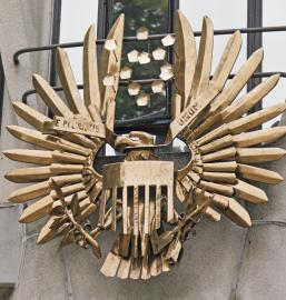 Metal sculpture of the US National Eagle outside the US Embassy in the Ballsbridge area of Dublin