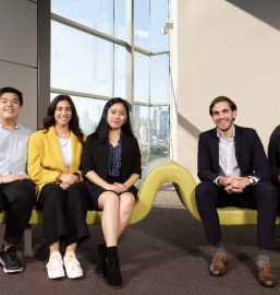 Left to right: Marcus Lee, Erica Giulione, Amy Su, Amer Nasr, Urvashi Bandhu. Credit: Louise Cooper/USYD