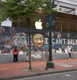 Boarded Up Apple Portland Store With Protest Murals, June 2020