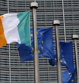 Irish and EU flags