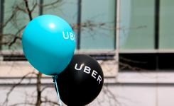 Balloons at a pro Uber rally