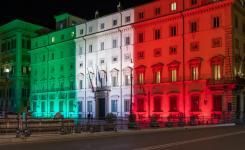 Palazzo Chigi illuminated with the colors of the Italian flag