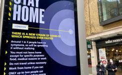Coronavirus 'Stay home, Coronavirus Tier 4 ' sign on the street of London