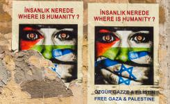 Posters on a street wall, Istanbul, Turkey, urge for a free Gaza and Palestine