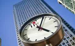 Konstantin Grcic's clock on One Canada Square in London