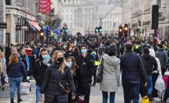 People with face masks on Regent Street