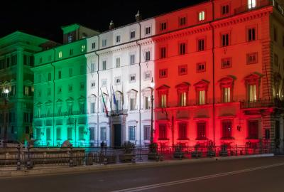 Palazzo Chigi illuminated with the colors of the Italian flag