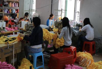 Clothing workshop in Puning, China