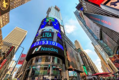 The NASDAQ building on Times Square in New York, USA