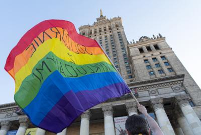 LGBTQ Pride event in front of the Palace of Culture and Science, Warsaw, Poland